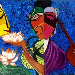 radha krishna meera, 24 x 18 inch, rajni  a,paintings,abstract paintings,religious paintings,cubist paintings,expressionist paintings,radha krishna paintings,paintings for dining room,paintings for living room,paintings for bedroom,paintings for school,canvas,acrylic color,24x18inch,GAL084020174,radhakrishna,love,pece,lordkrishna,,lordradha,peace,flute,music,radha,krishna,devotion,couple