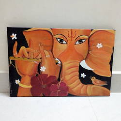 flute ganesha, 18 x 12 inch, suparna shenoy,paintings,abstract paintings,paintings for dining room,paintings for living room,paintings for bedroom,paintings for office,paintings for kids room,paintings for hotel,paintings for kitchen,paintings for school,paintings for hospital,canvas,acrylic color,18x12inch,GAL0999820184