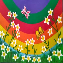 spring flowers jasmine, 22 x 15 inch, geeta kwatra,paintings,flower paintings,canvas,acrylic color,22x15inch,GAL0899120185