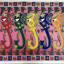 elephant trunks traditional, 19 x 14 inch, sonal jain,paintings,abstract paintings,folk art paintings,animal paintings,elephant paintings,madhubani paintings,paintings for living room,paintings for office,handmade paper,acrylic color,ink color,poster color,19x14inch,GAL01019620187