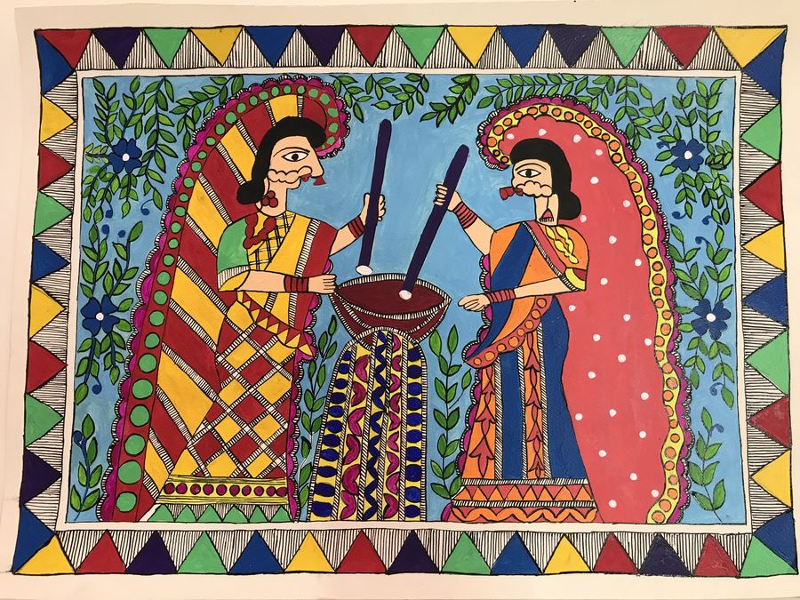 women madhubani, 19 x 13 inch, sonal jain,figurative paintings,folk art paintings,madhubani paintings,paintings for dining room,paintings for living room,paintings for hotel,handmade paper,acrylic color,ink color,poster color,19x13inch,GAL01019620188
