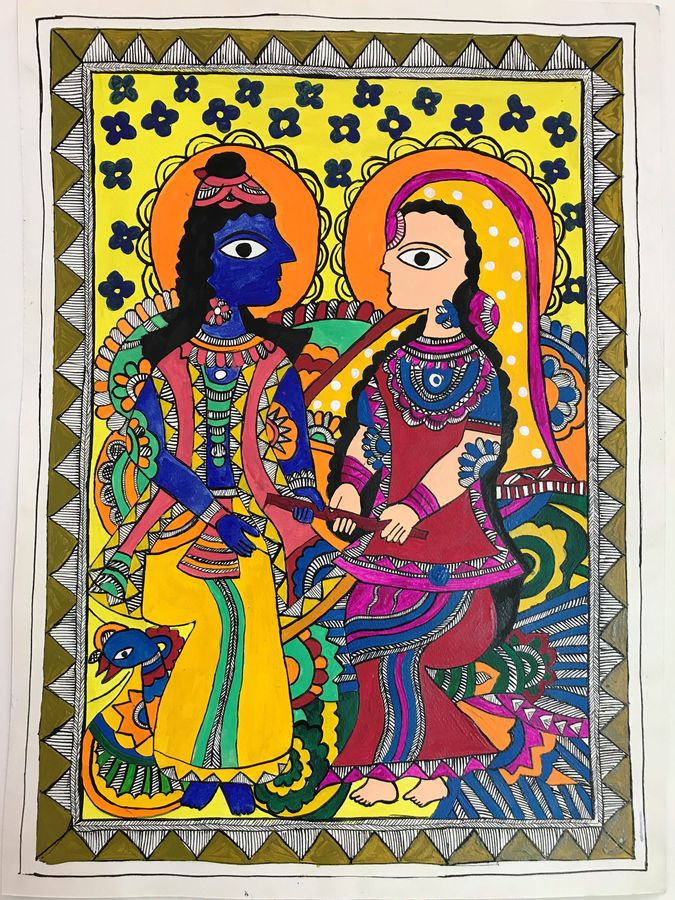 madhubani figures, 19 x 14 inch, sonal jain,figurative paintings,folk art paintings,love paintings,madhubani paintings,paintings for living room,paintings for bedroom,paintings for office,paintings for hotel,paintings for living room,paintings for bedroom,paintings for office,paintings for hotel,handmade paper,acrylic color,ink color,pastel color,poster color,19x14inch,GAL01019620193heart,family,caring,happiness,forever,happy,trust,passion,romance,sweet,kiss,love,hugs,warm,fun,kisses,joy,friendship,marriage,chocolate,husband,wife,forever,caring,couple,sweetheart