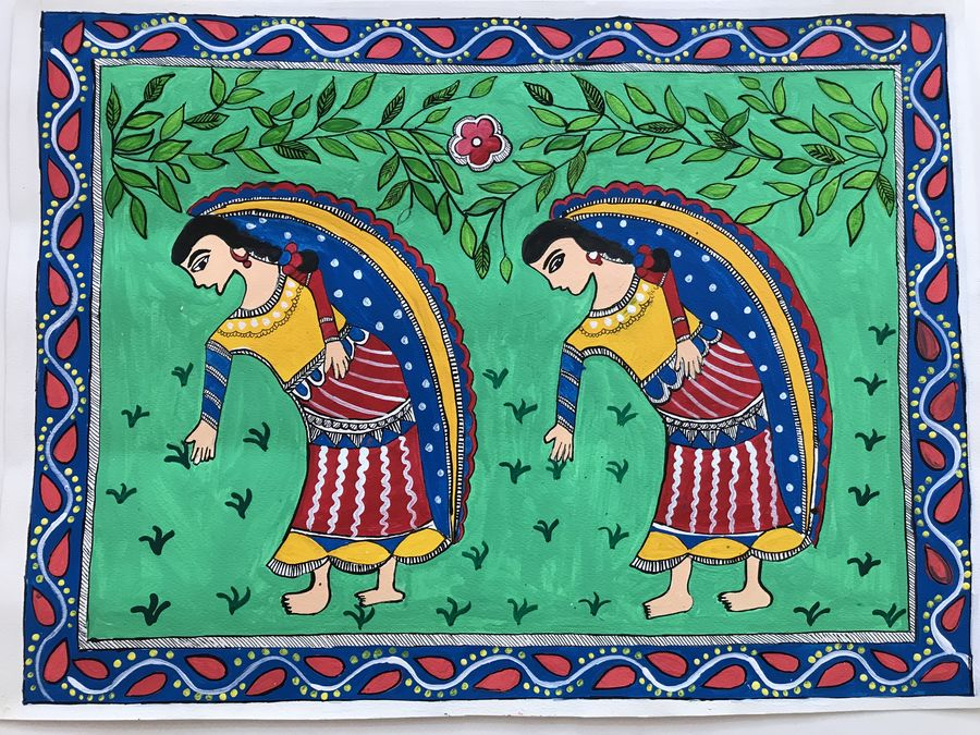 women planting madhubani, 19 x 14 inch, sonal jain,paintings,figurative paintings,folk art paintings,nature paintings,madhubani paintings,paintings for dining room,paintings for living room,paintings for hotel,handmade paper,acrylic color,ink color,poster color,19x14inch,GAL01019620194Nature,environment,Beauty,scenery,greenery