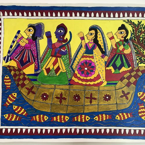 women on boat madhubani, 19 x 14 inch, sonal jain,paintings,figurative paintings,madhubani paintings,paintings for bedroom,paintings for hotel,paintings for hospital,paintings for bedroom,paintings for hotel,paintings for hospital,handmade paper,acrylic color,poster color,19x14inch,GAL01019620196