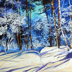 snowy woods, 36 x 24 inch, rajni  a,paintings,landscape paintings,nature paintings,paintings for dining room,paintings for living room,paintings for bedroom,paintings for office,paintings for kids room,paintings for hotel,paintings for school,canvas,acrylic color,36x24inch,nature,landscape,blue,snow,forest,GAL084020199Nature,environment,Beauty,scenery,greenery
