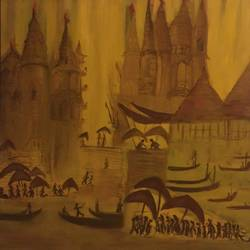 brooding banaras, 36 x 36 inch, arvind bhandari,abstract paintings,paintings for living room,canvas,oil,36x36inch,GAL07892020