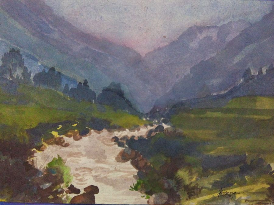 river, 11 x 7 inch, sunil begana,landscape paintings,paintings for living room,handmade paper,watercolor,11x7inch,GAL06542022