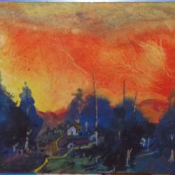 village, 11 x 7 inch, sunil begana,landscape paintings,paintings for living room,paper,watercolor,11x7inch,GAL06542023