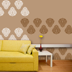 wall stencil: royal design wall stencil , 1 stencil (size 12x12 inches) | reusable | diy, 12 x 12 inch, wall stencil designs,12x12inch,ohp plastic sheets,flower designs,plastic,GAL0120230,GAL0120230