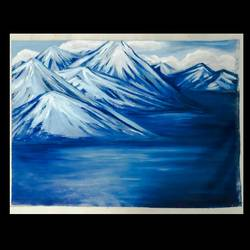icy mountains, 34 x 24 inch, praveena shree egambaram,paintings,landscape paintings,nature paintings,paintings for dining room,paintings for living room,paintings for bedroom,paintings for office,paintings for kids room,paintings for hotel,paintings for kitchen,paintings for school,paintings for hospital,canvas,oil,34x24inch,GAL0681420234Nature,environment,Beauty,scenery,greenery