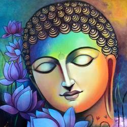 lord buddha 11, 30 x 36 inch, sanjay  tandekar ,paintings,buddha paintings,canvas,acrylic color,30x36inch,colorful,flowers,lotus,peace,meditation,meditating,gautam,goutam,religious,GAL0281020237,peace,lordbuddha,inner,lordface,lotus,gautaum