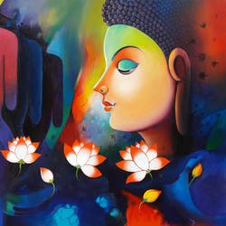 lord buddha  13, 48 x 36 inch, sanjay  tandekar ,paintings,buddha paintings,canvas,acrylic color,48x36inch,colorful,flowers,beauty,blue,peace,meditation,meditating,gautam,goutam,religious,GAL0281020238,peace,lordbuddha,inner,lordface,lotus,