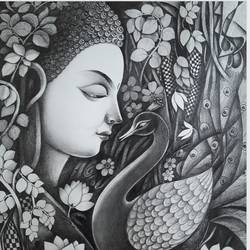 buddha with nature , 15 x 20 inch, sanjay  tandekar ,paintings,buddha paintings,canson paper,graphite pencil,15x20inch,nature,peacock,black and white,peace,meditation,meditating,gautam,goutam,religious,GAL0281020240,peace,lordbuddha,inner,lordface,leaf,trees,flowers