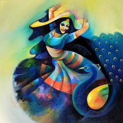 dance with peacock , 36 x 36 inch, sanjay  tandekar ,paintings,figurative paintings,modern art paintings,contemporary paintings,paintings for living room,paintings for bedroom,paintings for office,paintings for hotel,paintings for hospital,canvas,acrylic color,36x36inch,GAL0281020246