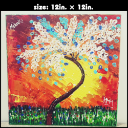 white red tree, 12 x 12 inch, heena haldankar,paintings,figurative paintings,landscape paintings,art deco paintings,paintings for living room,paintings for bedroom,paintings for office,paintings for kids room,paintings for hotel,paintings for school,paintings for hospital,canvas board,acrylic color,12x12inch,GAL01023220259
