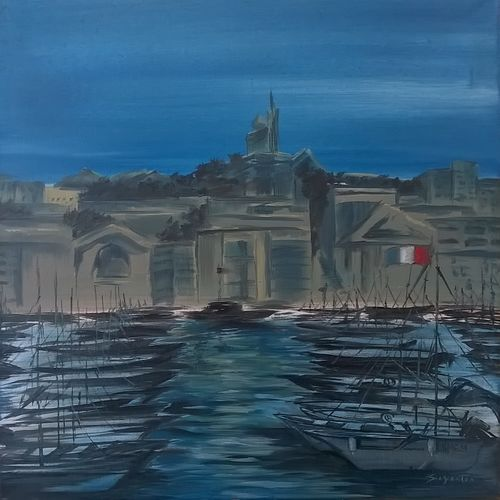 marseille, 24 x 24 inch, sayantan  ghati ,cityscape paintings,paintings for office,canvas,oil,24x24inch,GAL07702026