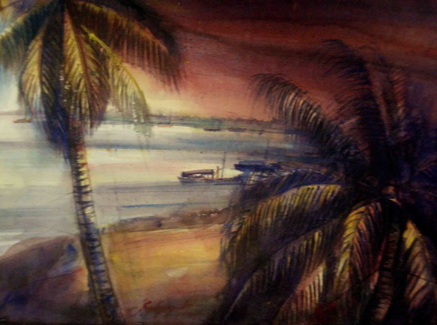 naigaon creak, 30 x 20 inch, satyajit chandra chanda,landscape paintings,nature paintings,paintings for living room,paintings for office,paper,watercolor,30x20inch,GAL07502027Nature,environment,Beauty,scenery,greenery