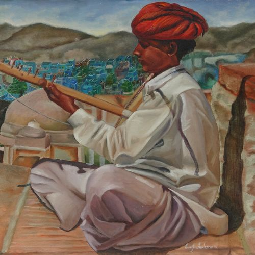 rajasthani folk music, 36 x 24 inch, ramya sadasivam,paintings,portrait paintings,impressionist paintings,realism paintings,realistic paintings,paintings for dining room,paintings for living room,paintings for bedroom,paintings for office,paintings for bathroom,paintings for kids room,paintings for hotel,paintings for kitchen,paintings for school,paintings for hospital,canvas board,oil,36x24inch,GAL032720272