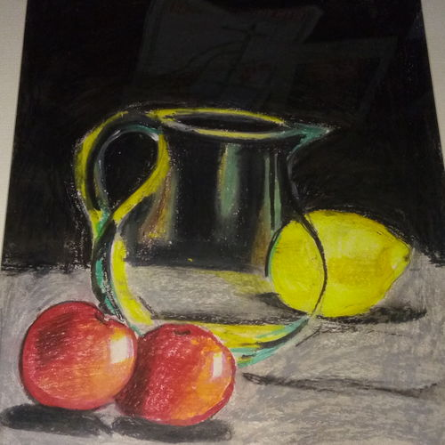 glass jar, 10 x 12 inch, dipishree daithota,paintings,still life paintings,illustration paintings,paintings for dining room,paintings for living room,paintings for office,paintings for hotel,paintings for kitchen,drawing paper,pastel color,10x12inch,GAL01021820273