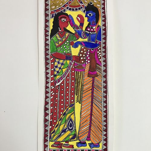 ram sita eternal love, 17 x 6 inch, sonal jain,paintings,figurative paintings,madhubani paintings,paintings for living room,paintings for bedroom,paintings for hospital,handmade paper,acrylic color,ink color,poster color,17x6inch,GAL01019620277