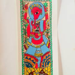 ganpati panel madhubani, 17 x 6 inch, sonal jain,paintings,figurative paintings,ganesha paintings,madhubani paintings,paintings for living room,paintings for office,paintings for hotel,handmade paper,acrylic color,ink color,poster color,17x6inch,GAL01019620278,vinayak,ekadanta,ganpati,lambodar,peace,devotion,religious,lord ganesha,lordganpati
