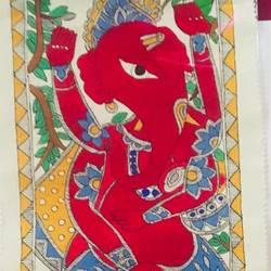 ganpati with mushak madhubani, 26 x 8 inch, sonal jain,paintings,folk art paintings,ganesha paintings,madhubani paintings,paintings for living room,paintings for office,paintings for hotel,paintings for school,paintings for hospital,handmade paper,acrylic color,ink color,poster color,26x8inch,GAL01019620279,vinayak,ekadanta,ganpati,lambodar,peace,devotion,religious,lord ganesha,lordganpati
