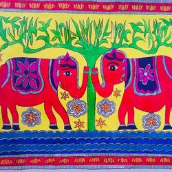 elephant jodi madhubani, 15 x 12 inch, sonal jain,paintings,wildlife paintings,nature paintings,animal paintings,madhubani paintings,paintings for dining room,paintings for bedroom,paintings for kitchen,paintings for school,paintings for dining room,paintings for bedroom,paintings for kitchen,paintings for school,handmade paper,acrylic color,poster color,15x12inch,GAL01019620280Nature,environment,Beauty,scenery,greenery