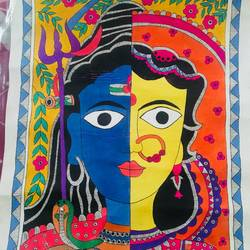 ardhnareshwar lord, 19 x 13 inch, sonal jain,paintings,figurative paintings,madhubani paintings,lord shiva paintings,paintings for living room,paintings for office,paintings for hotel,paintings for hospital,handmade paper,acrylic color,ink color,poster color,19x13inch,GAL01019620281
