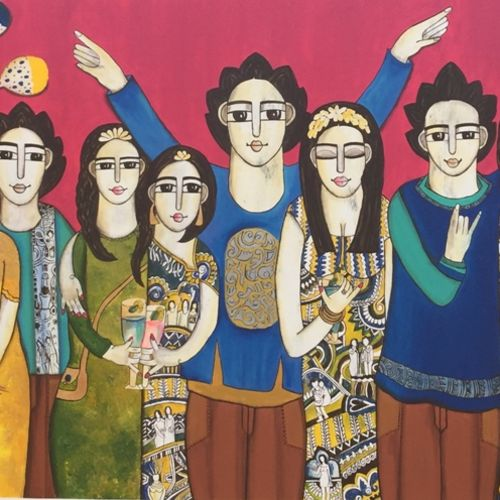 party tim, 80 x 44 inch, nandini verma,paintings,figurative paintings,contemporary paintings,paintings for dining room,paintings for living room,paintings for office,paintings for hotel,canvas,acrylic color,80x44inch,GAL0273720291