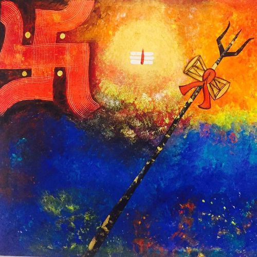 shiva abhamandal , 54 x 48 inch, nandini verma,paintings,figurative paintings,paintings for living room,paintings for office,paintings for hotel,paintings for living room,paintings for office,paintings for hotel,canvas,acrylic color,54x48inch,GAL0273720293