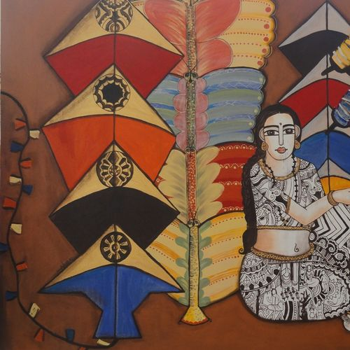 the kite vendor, 80 x 44 inch, nandini verma,paintings,figurative paintings,contemporary paintings,canvas,acrylic color,80x44inch,GAL0273720294