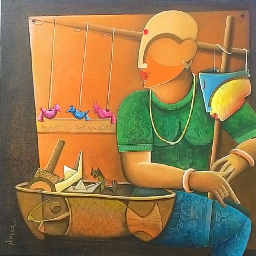 toy seller , 36 x 36 inch, anupam  pal,abstract paintings,paintings for dining room,love paintings,canvas,acrylic color,36x36inch,GAL082203