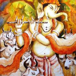 lord ganesha - 7, 15 x 22 inch, anirban seth,paintings,figurative paintings,religious paintings,ganesha paintings,paintings for dining room,paintings for living room,paintings for bedroom,paintings for office,paintings for kids room,paintings for hotel,paintings for kitchen,paintings for school,paintings for hospital,handmade paper,watercolor,15x22inch,GAL01024520303,vinayak,ekadanta,ganpati,lambodar,peace,devotion,religious,lord ganesha,lordganpati,ganpati bappa morya,ganesh chaturthi,ganesh murti,elephant god,religious,lord ganesh,ganesha,om,hindu god,shiv parvati, putra,bhakti,blessings,aashirwad,pooja,puja,aarti,ekdant,vakratunda,lambodara,bhalchandra,gajanan,vinayak,prathamesh,vignesh,heramba,siddhivinayak,mahaganpati,omkar,mushak,mouse,ladoo,modak,shlok