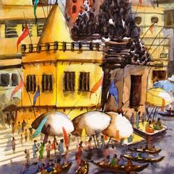 morning light in banaras - i, 14 x 21 inch, anirban seth,paintings,cityscape paintings,landscape paintings,religious paintings,photorealism paintings,realism paintings,contemporary paintings,paintings for dining room,paintings for living room,paintings for bedroom,paintings for office,paintings for kids room,paintings for hotel,paintings for kitchen,paintings for school,paintings for hospital,paper,watercolor,14x21inch,GAL01024520308