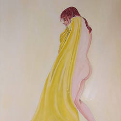 cover herself, 12 x 16 inch, dilpreet honey,paintings,figurative paintings,paintings for bedroom,paintings for bathroom,paintings for hotel,thick paper,oil,12x16inch,GAL0677620320