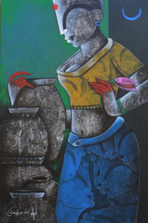 a lady with pot, 12 x 36 inch, anupam  pal,figurative paintings,modern art paintings,paintings for dining room,paintings for living room,paintings for bedroom,paintings for office,paintings for bathroom,paintings for kids room,paintings for hotel,paintings for kitchen,paintings for school,paintings for hospital,paintings for dining room,paintings for living room,paintings for bedroom,paintings for office,paintings for bathroom,paintings for kids room,paintings for hotel,paintings for kitchen,paintings for school,paintings for hospital,canvas,acrylic color,charcoal,mixed media,12x36inch,GAL08220326