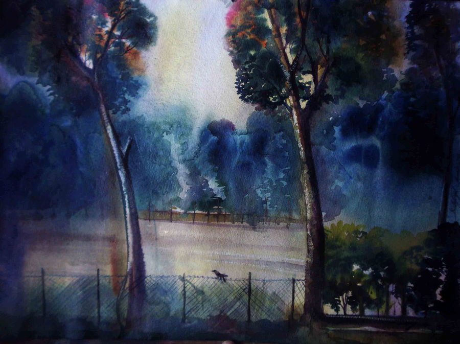 after the rain fall , 30 x 20 inch, satyajit chandra chanda,landscape paintings,nature paintings,paintings for bedroom,paintings for office,paper,watercolor,30x20inch,GAL07502033Nature,environment,Beauty,scenery,greenery