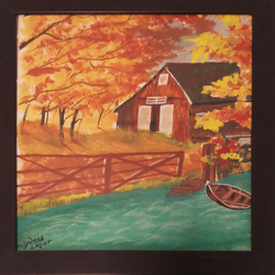 hut in burning forest , 12 x 12 inch, avinash lohar,paintings,nature paintings,canvas,acrylic color,12x12inch,GAL01029520336Nature,environment,Beauty,scenery,greenery