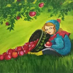 girl with apple in garden, 12 x 16 inch, sandhya kumari,paintings,figurative paintings,landscape paintings,still life paintings,portrait paintings,baby paintings,children paintings,kids paintings,paintings for dining room,paintings for living room,paintings for office,paintings for kids room,paintings for hotel,paintings for kitchen,paintings for school,paintings for hospital,canvas board,acrylic color,12x16inch,GAL0365920338