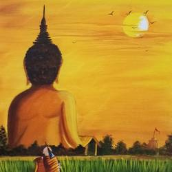 huge buddha monument in evening, 12 x 16 inch, sandhya kumari,paintings,buddha paintings,landscape paintings,religious paintings,portrait paintings,paintings for dining room,paintings for living room,paintings for office,paintings for bathroom,paintings for hotel,paintings for school,paintings for hospital,canvas board,acrylic color,12x16inch,religious,peace,meditation,meditating,gautam,goutam,buddha,sunset,scenery,monk,birds,orange,GAL0365920339