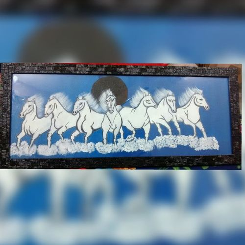 seven horse painting, 22 x 7 inch, varsha kashyap,paintings,wildlife paintings,horse paintings,paintings for dining room,paintings for living room,paintings for office,paintings for kids room,paintings for hotel,paintings for school,canvas,acrylic color,22x7inch,GAL0846820340