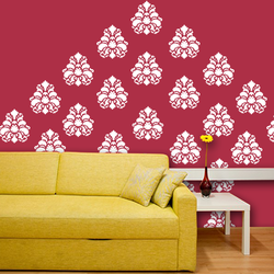 wall stencil: generic trendy wall stencil , 1 stencil (size 12x12 inches) | reusable | diy, 12 x 12 inch, wall stencil designs,12x12inch,ohp plastic sheets,flower designs,plastic,GAL0120348,GAL0120348