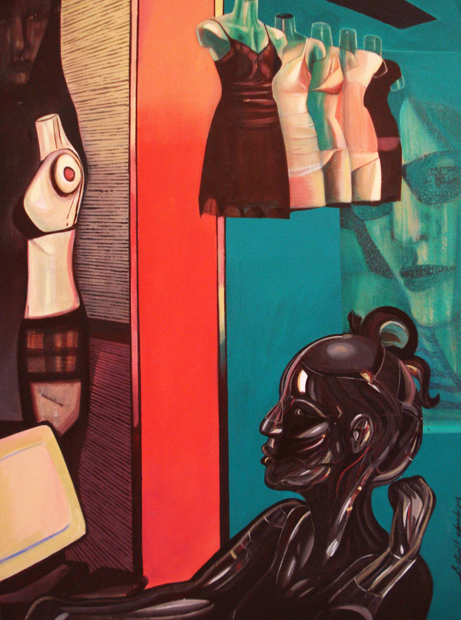 a sales girl , 36 x 48 inch, satyajit chandra chanda,figurative paintings,conceptual paintings,paintings for office,canvas,acrylic color,36x48inch,GAL07502035