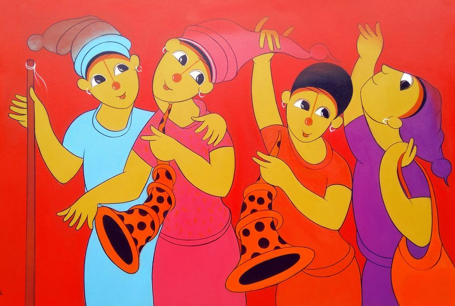 childwood fun, 36 x 24 inch, dnyaneshwar  bembade ,paintings,figurative paintings,paintings for kids room,canvas,acrylic color,36x24inch,GAL046420358