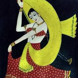 folk dancer part 1, 12 x 18 inch, geeta kwatra,paintings,folk art paintings,paintings for living room,handmade paper,acrylic color,12x18inch,GAL0899120366