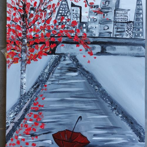 lonely umbrella, 18 x 24 inch, rajni  a,paintings,cityscape paintings,landscape paintings,nature paintings,paintings for dining room,paintings for living room,paintings for bedroom,paintings for office,paintings for kids room,paintings for hotel,paintings for dining room,paintings for living room,paintings for bedroom,paintings for office,paintings for kids room,paintings for hotel,canvas,acrylic color,18x24inch,GAL084020368Nature,environment,Beauty,scenery,greenery