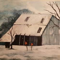 solitary cabin, 20 x 14 inch, farida malik,paintings,contemporary paintings,thick paper,watercolor,20x14inch,GAL01033320370