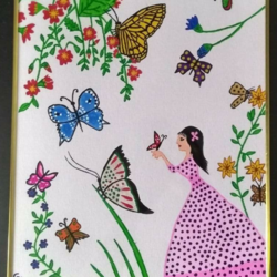 beautiful butterflies, 17 x 21 inch, geeta kwatra,paintings,nature paintings,canvas,acrylic color,17x21inch,GAL0899120375Nature,environment,Beauty,scenery,greenery