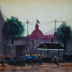 a busy  street, 10 x 14 inch, afroz nayyar,paintings,impressionist paintings,paintings for dining room,paintings for living room,paintings for bedroom,paintings for office,paintings for hotel,paintings for school,paintings for hospital,arches paper,watercolor,10x14inch,GAL0943220377