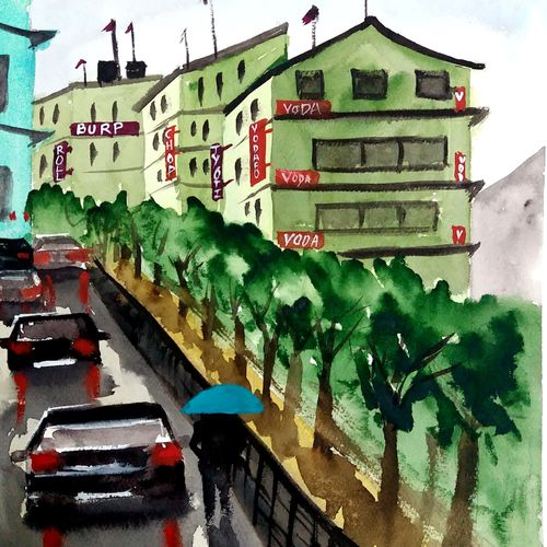 beautiful gangtok, 10 x 14 inch, afroz nayyar,paintings,cityscape paintings,impressionist paintings,paintings for dining room,paintings for living room,paintings for bedroom,paintings for office,paintings for hotel,paintings for school,paintings for hospital,fabriano sheet,watercolor,10x14inch,GAL0943220379